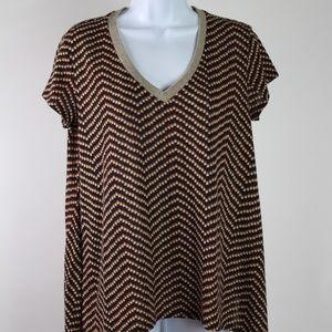 Short sleeve knit tunic top brown orange dots